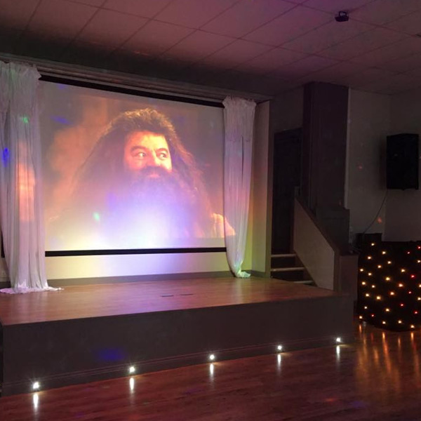 movie screening, venue hire, projector screen, harry potter, multicolored lights
