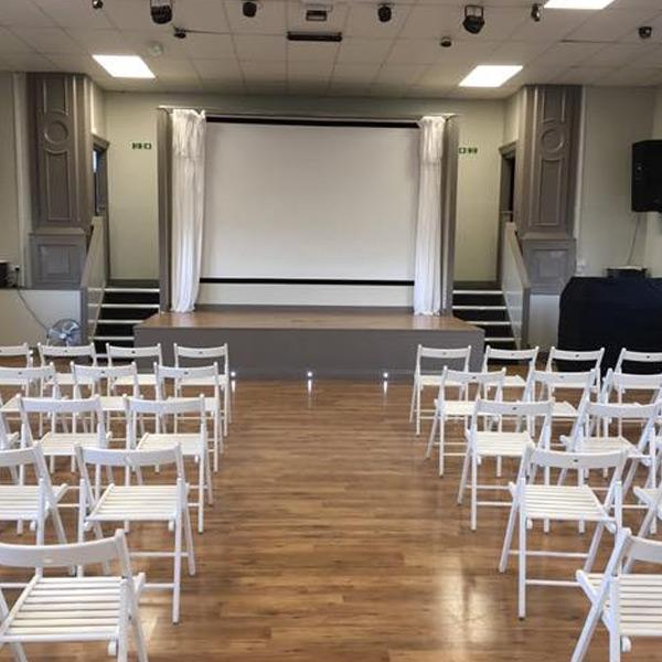 Venue Hire, Presentation, seating arrangement, white lights, studio