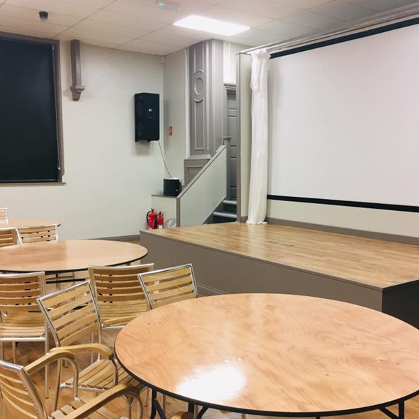 projector screen, tables and chairs, presentation venue hire