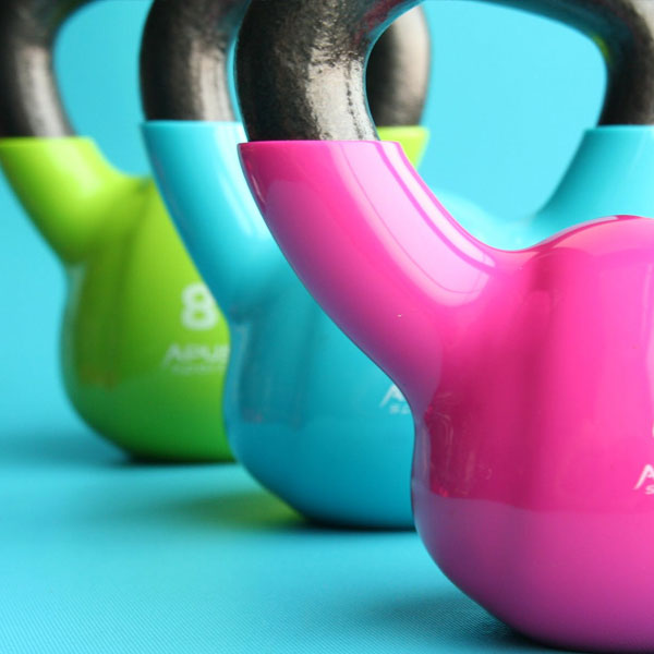 Fitness, Weights, Colourful Weights, Kettlebell, Blue background, Excercise