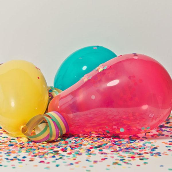 Parties, Balloons, Confetti, RBG colours, celebration