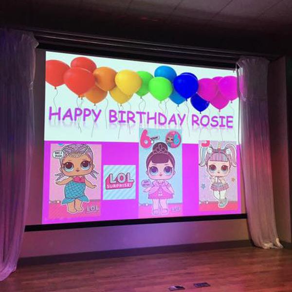 HD projector, Child's Birthday, Balloons, Birthday Banner