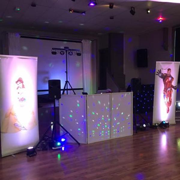 superhero, princess, banner, disco, disco lights