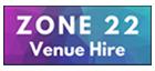 Zone22 logo, multicolored, venue hire
