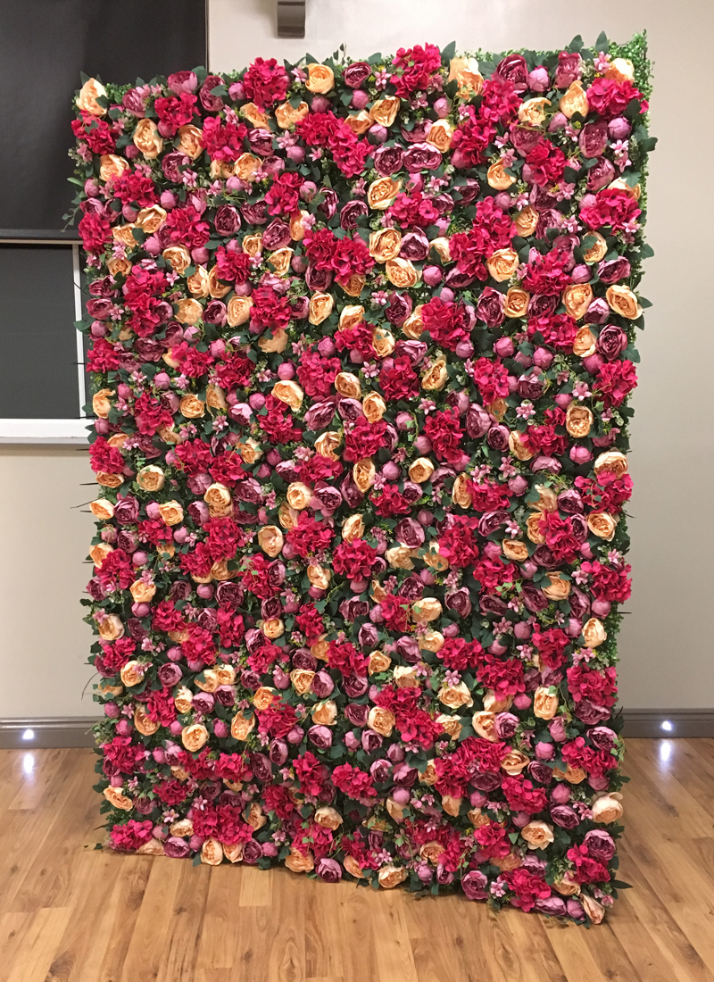 flower wall, photography backdrop, red and yellow flowers, zone22
