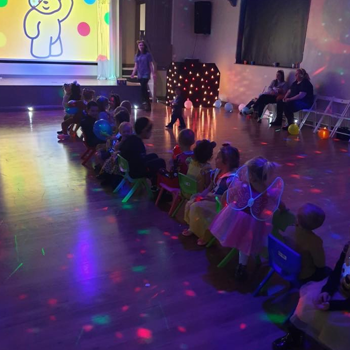 pudsey bear, party games, toddler games, disco lights
